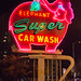 Pink Elephant Car Wash Neon Sign at Night