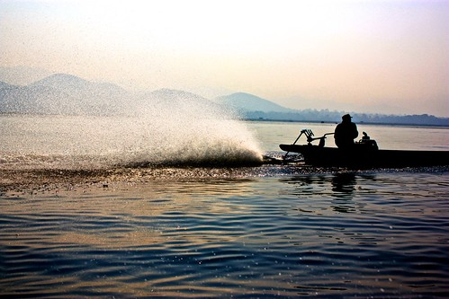 Inle Lake boat driver silhouette