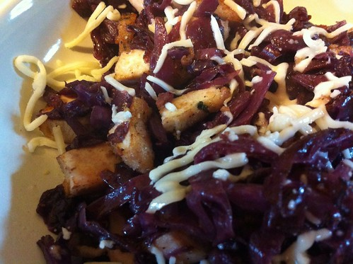 New Food; Fried radicchio with chicken breast