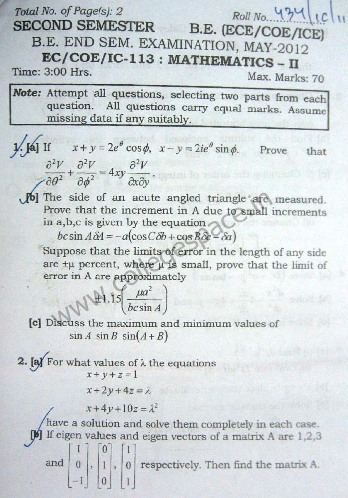NSIT Question Papers 2012 – 2 Semester - End Sem - EC-COE-IC-113