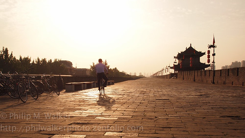 china city sunset urban wall golden pagoda cyclist chinese bikes xian lanterns fav10