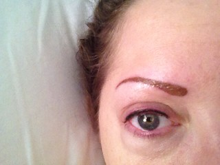 Permanent makeup - third eyebrow touch-up, second eyeliner touch-up