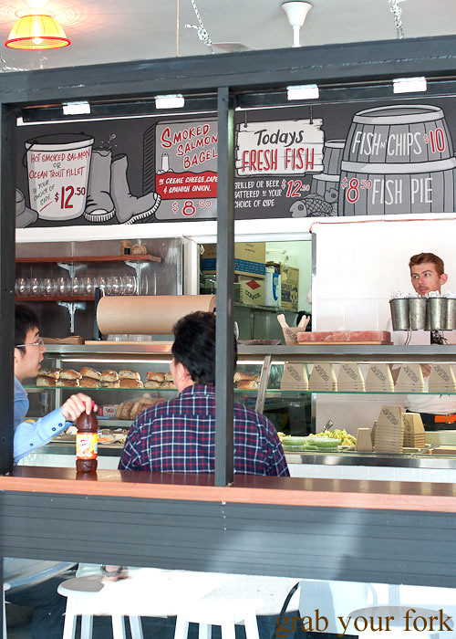 Counter seating and blackboard menu at Fish Place Surry Hills