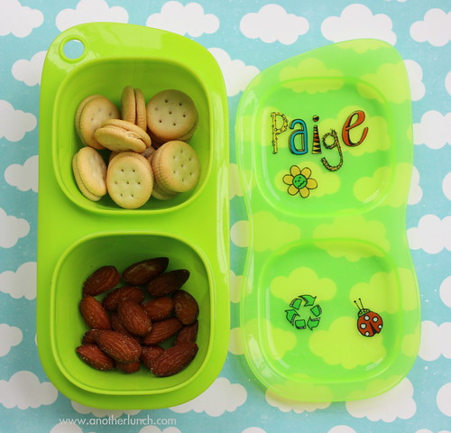 Kindergarten snack - organic peanut butter sandwich crackers & almonds