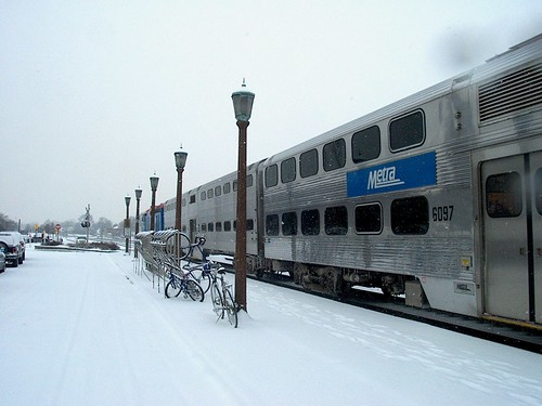 Westbound Metra commuter train.  Elmhurst Illinois.  February 2007. by Eddie from Chicago