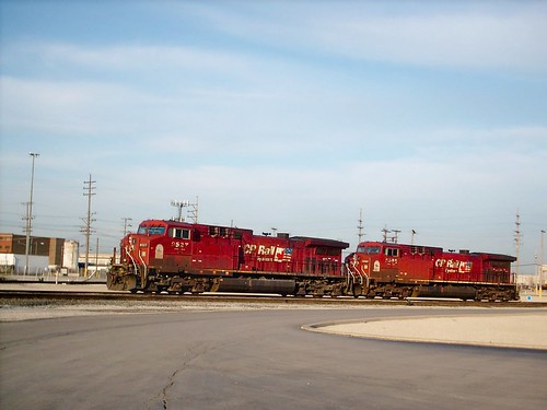 Two Canadian Pacific Railroad owned General Electric locomotives at the Belt Railway of Chicago Clearing Yard locomotive terminal.  Bedford Park Illinois.  March 2008. by Eddie from Chicago