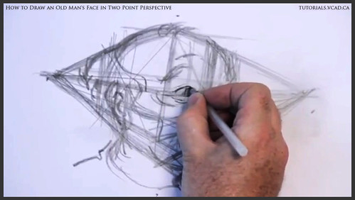 learn how to draw an old man's face in two point perspective 015