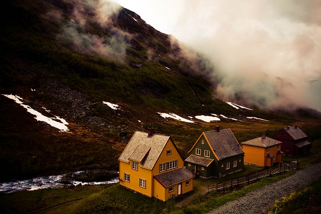 norway, houses, nature