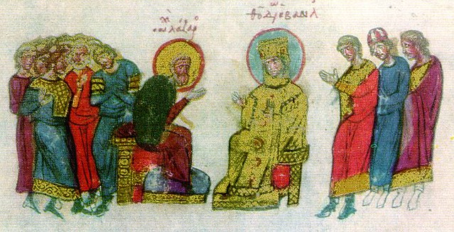 Empress Theodora and monk Lazar (from Skylitzis Chronicle, fol. 50va)