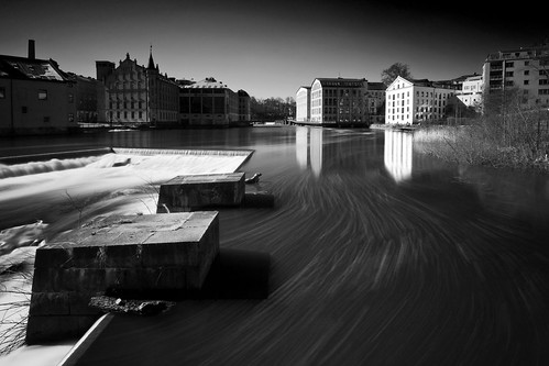 longexposure urban blackandwhite bw water monochrome speed reflections river landscape whitewater stream cityscape action sweden tripod nopeople calm motionblur le scandinavia norrköping brickbuildings sigma1020mm östergötland ndfilter industrilandskapet motalaström neutraldensityfilter nordics lightcraftworkshopnd500 sonyalphaslta77