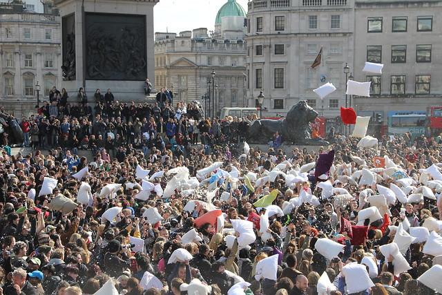 World Pillow Fight day. Trafalgar Square