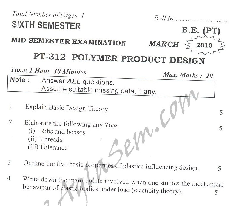 DTU Question Papers 2010 – 6 Semester - Mid Sem - PT-312