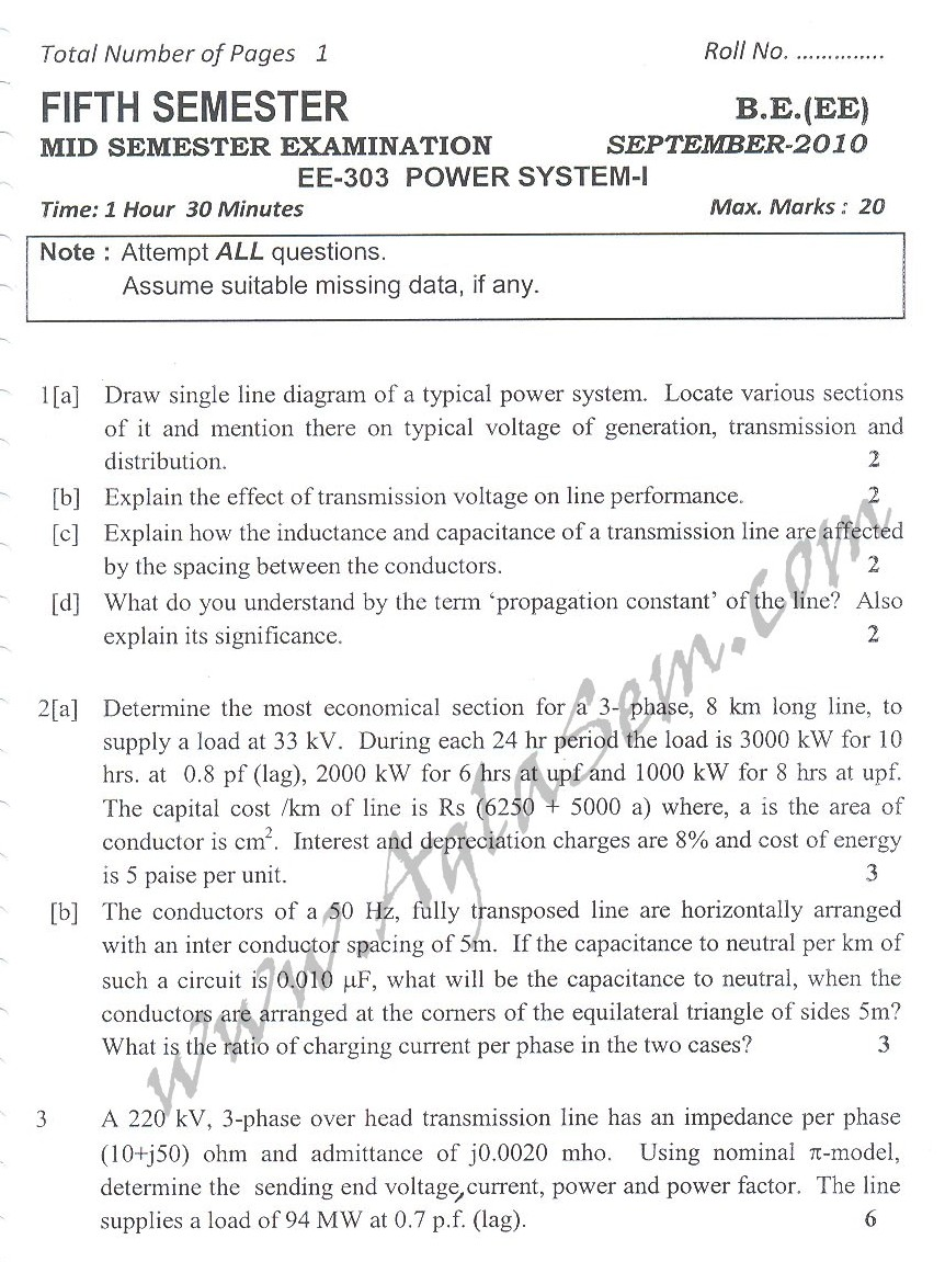 DTU Question Papers 2010 – 5 Semester - Mid Sem - EE-303