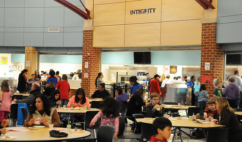 The Patriot High School cafeteria in Nokesville, Va.  Students and parents from the Prince William County School District were invited to the annual food tasting to sample some potential items on the school menu. Photo by Hakim Fobia, AMS