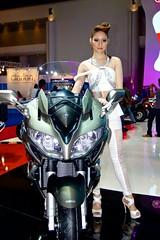 Yamaha motorbike with sexy presenter at the 34th Bangkok International Motor Show