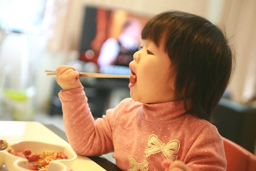 I can use chopsticks myself at age 18 months.