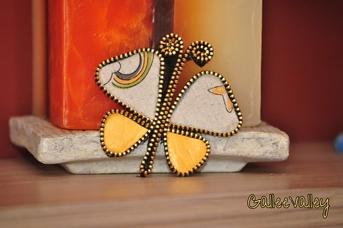 Zipper butterfly pendant