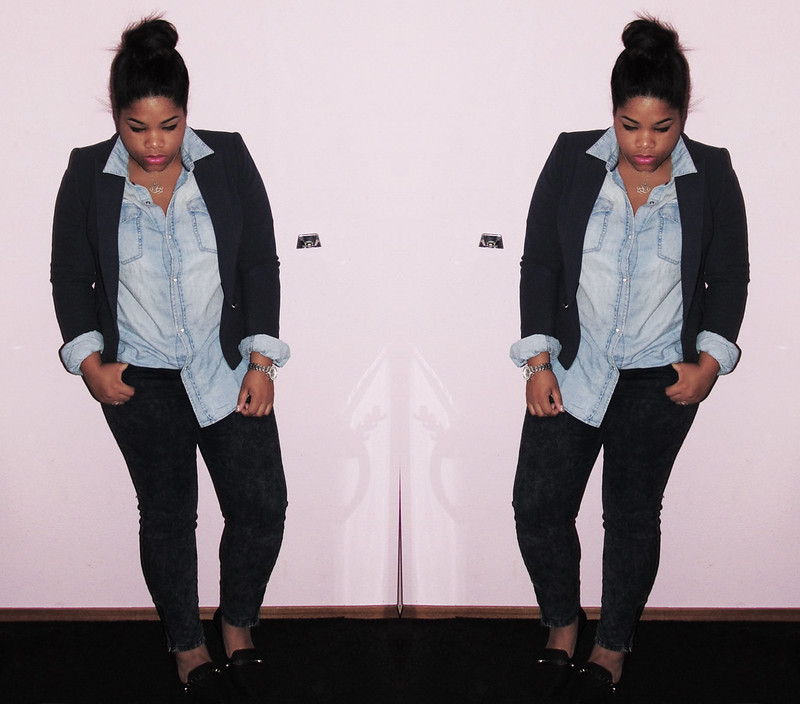 Zara, Forever21, H&M, OOTD, WIWW, WIWT, Denim On Denim, Jeans, High Bun, Style & Co., New Look