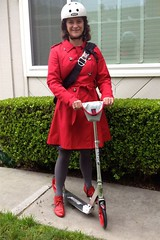 Scooting Along in Razor-Sharp Red