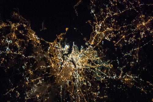 Boston at Night (NASA, International Space Station, 04/06/13)
