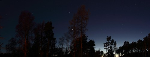 longexposure trees sky panorama night stars scotland moray speyside knockando hugin finegold canon60d speysideway fineplatinum finestdiamond