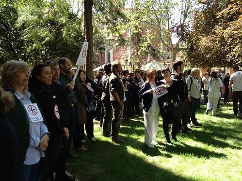Imatge acció protesta @cgtdiba a Mundet 25 d´abril