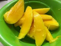 Green Bowl of Mango Slices Food