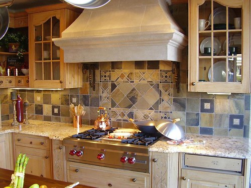 Porcelain tile backsplash