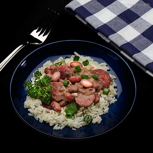 Red Beans and Rice on Plate with Napkin and Fork
