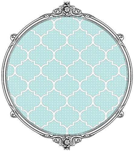6 Light Turquoise Dotted Moroccan Tile - free printable digital patterned paper set SAMPLE