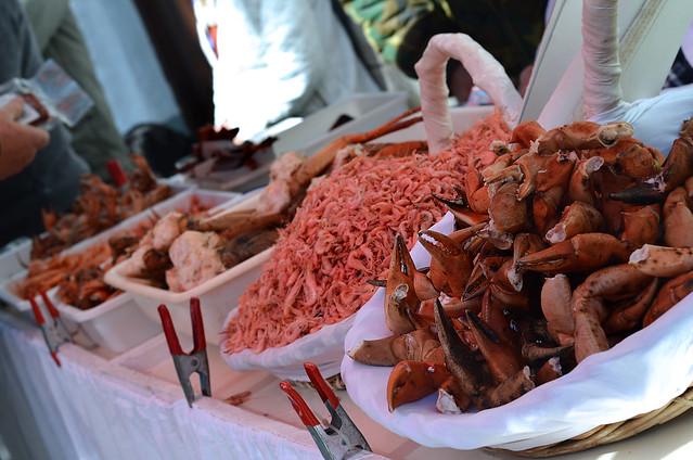 Camarones, cangrejo y tapas del carnaval de Cádiz