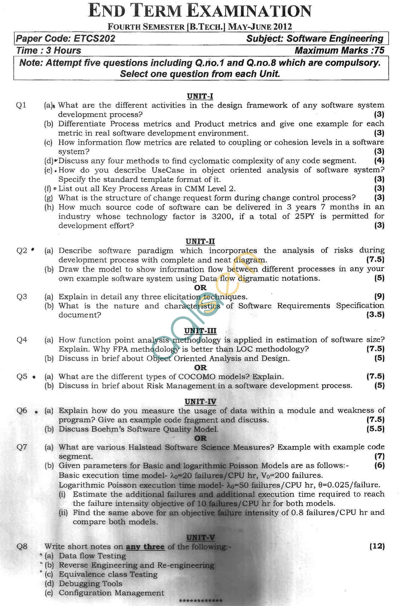 GGSIPU Question Papers Fourth Semester – end Term 2012 – ETCS-202