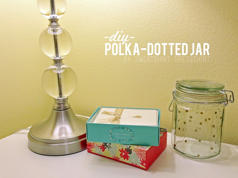 polka dotted jar, diy polka dotted jar, sharpie gold paint pen, sharpie gold paint pen crafts, easy crafts, jar crafts