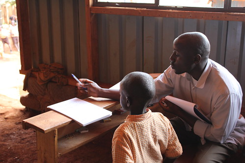 Kenya: Enumerator administers the Early Grade Mathematics Assessment (EGMA)