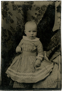 Baby with an Almost Hidden Mother - Tintype