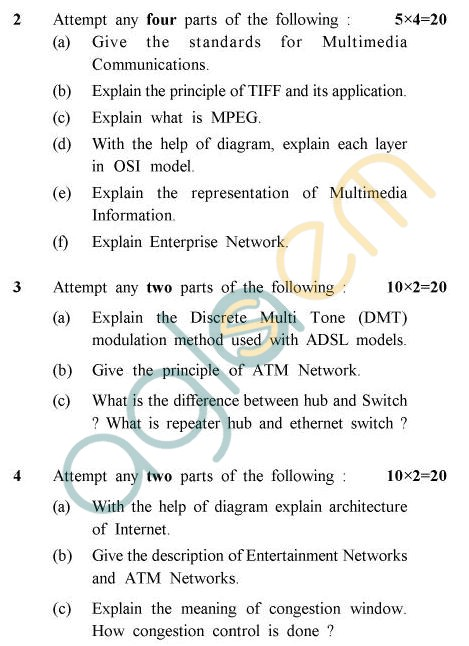 UPTU B.Tech Question Papers - EC-024 - Multimedia Communications
