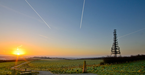 morning blue sky panorama green tower grass plane sunrise landscape nikon cheshire hill trails pale heights vapour delamere d5100