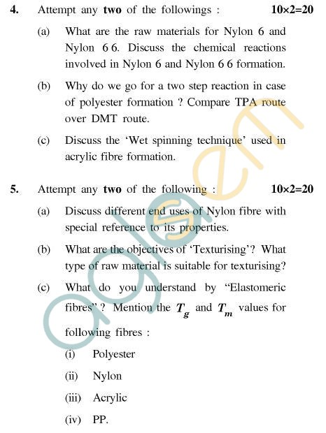 UPTU B.Tech Question Papers - CT-404 - Fibre Science-II