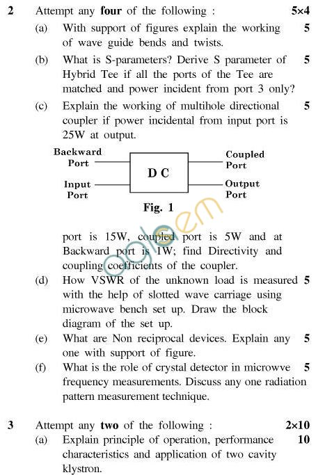 UPTU: B.Tech Question Papers - TEC-604-Microwave Radar Engineering