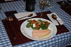 Salmon with Lemmon Butter served with a warm pumpkin and feta salad and potato chips