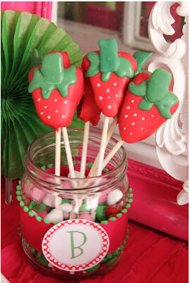 Strawberry Shaped Cake Pops from Wonderfully Made Events