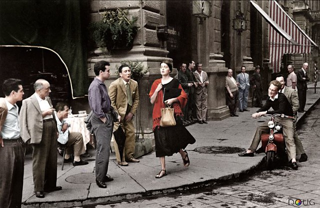 "Ruth Orkin's 1951 ""American Girl in Italy"" - Piazza della Republica, Florence - 22/8/51 - (The girl, Ninalee ""Jinx"" Allen Craig was an art student that Orkin had met in Italy and although the shot was 'posed', it only took two exposures)"