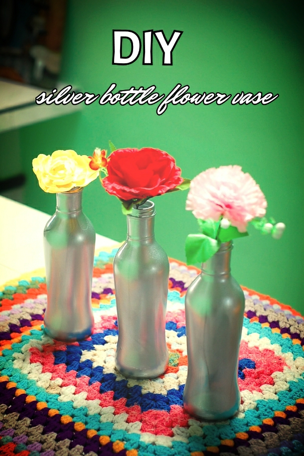 diy silver bottle flower vase