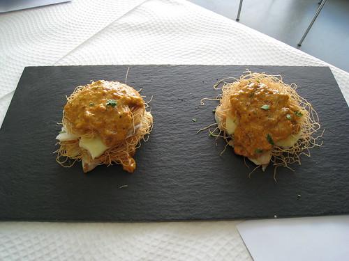 Pasta kataifi bacalao y erizo