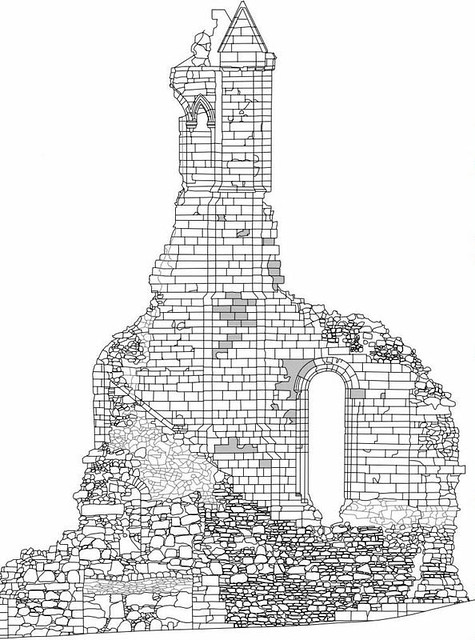 CAD elevation of Byland Abbey from Laser scan data