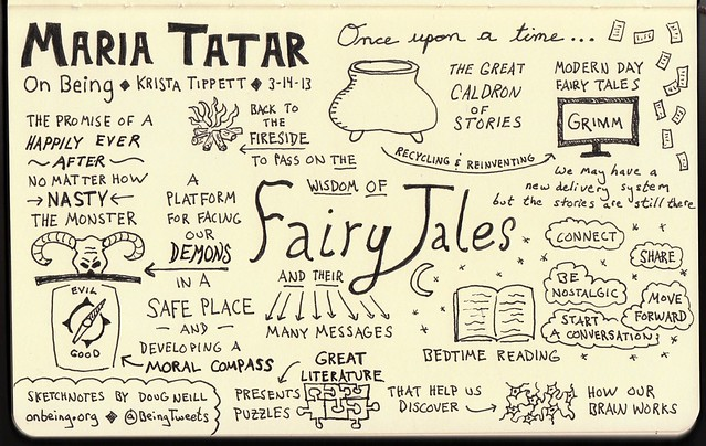"Sketchnotes for ""The Great Cauldron of Story"" with Maria Tatar"