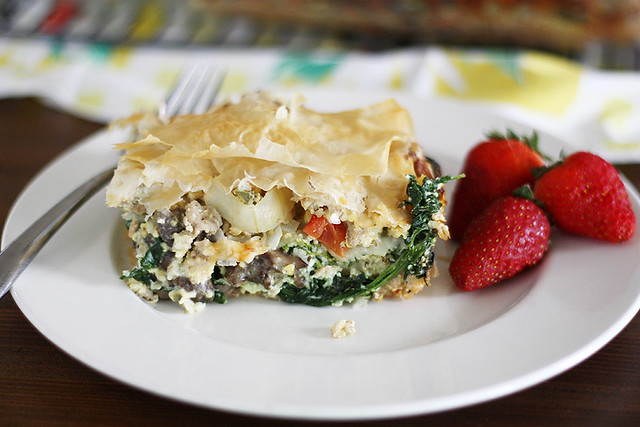 Phyllo Egg Brunch Casserole | girlversusdough.com @stephmwise