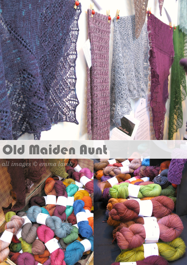 Marvelling over the beautiful lace knit shawls and delicious colours at Old Maiden Aunt | Emma Lamb