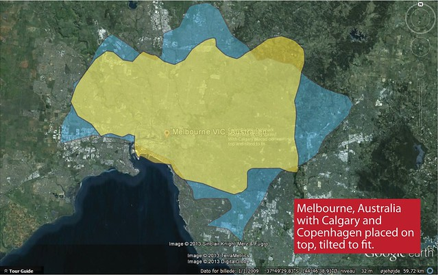 Urban Sprawl Comparison - Calgary and Copenhagen and Melbourne