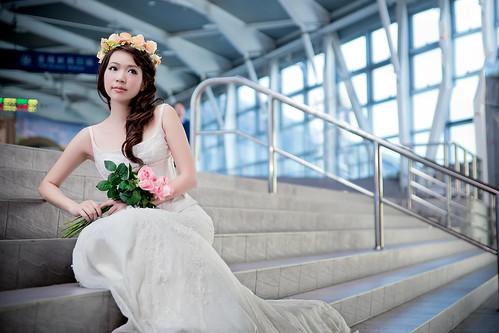 [フリー画像素材] 人物, 女性 - アジア, ウエディングドレス ID:201303302200